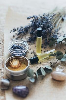 lavender essential oil with fresh lavender sprigs