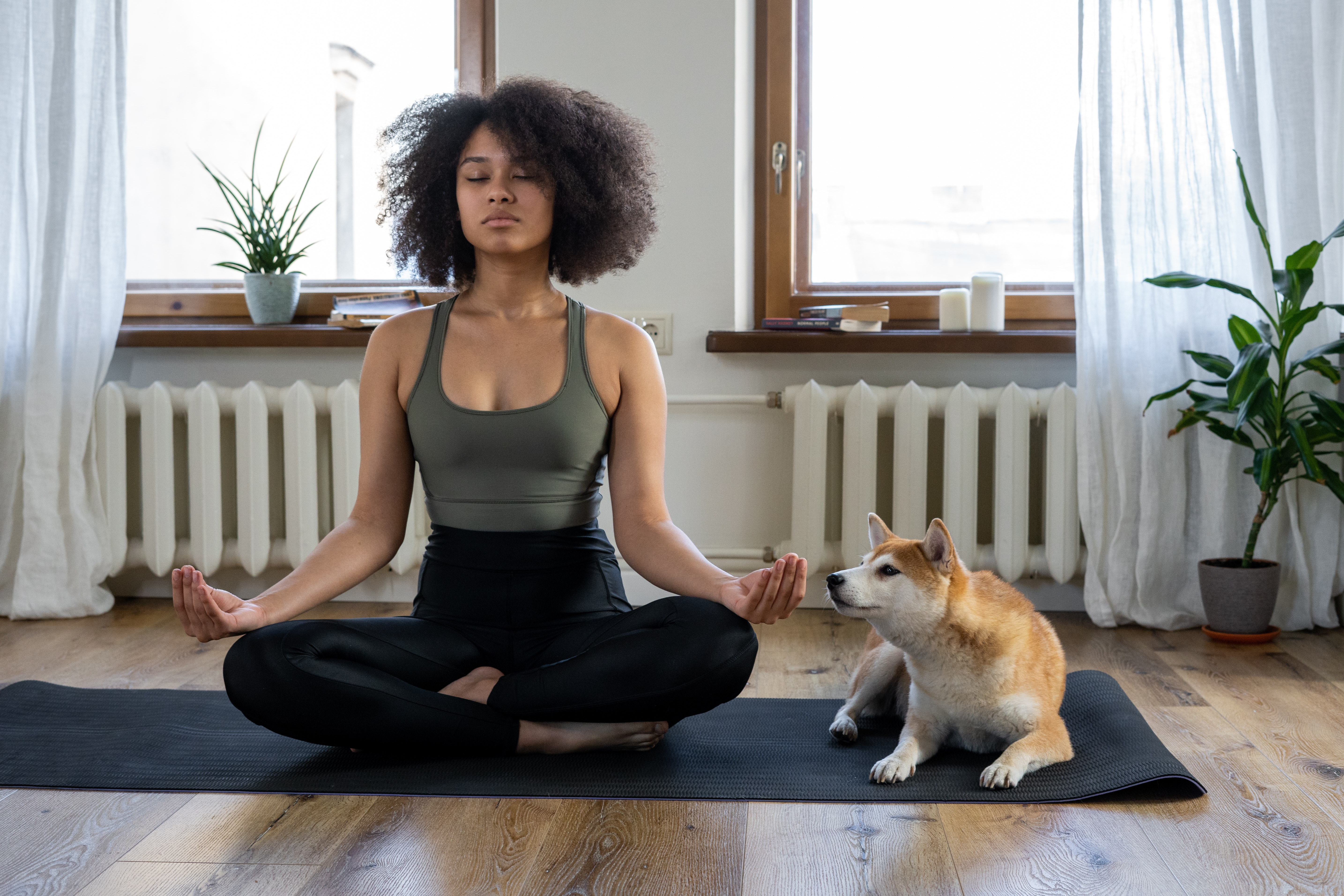 woman practicing meditation at home on her yoga mat with her dog